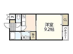 JR可部線 安芸長束駅 徒歩10分の賃貸アパート 2階1Kの間取り