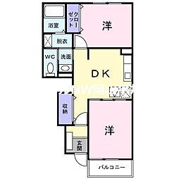 JR津山線 玉柏駅 徒歩25分の賃貸アパート 1階2DKの間取り