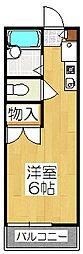 京都府京都市伏見区日野不動講町の賃貸アパートの間取り