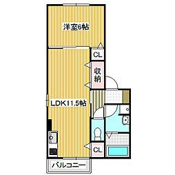 愛知県名古屋市中川区細米町2丁目の賃貸アパートの間取り