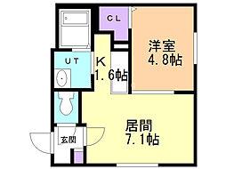 オリエントコート二十四軒 4階1DKの間取り
