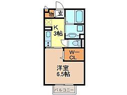 静岡県富士宮市東阿幸地の賃貸アパートの間取り