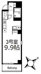 ブリティッシュクラブ鶴見 3階ワンルームの間取り
