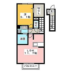 ハピネス東大利[2階]の間取り