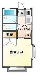栃木県宇都宮市富士見が丘3の賃貸アパートの間取り