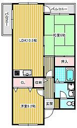 ボナール島田[2B号室]の間取り