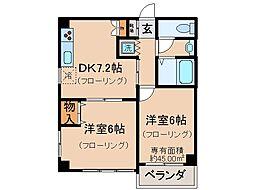 京都府京都市伏見区北端町の賃貸マンションの間取り