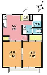 埼玉県桶川市泉2丁目の賃貸アパートの間取り