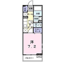 JR津山線 法界院駅 徒歩20分の賃貸アパート 2階1Kの間取り