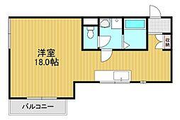 堺グランセ 4階ワンルームの間取り
