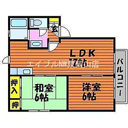 岡山県瀬戸内市長船町長船の賃貸アパートの間取り