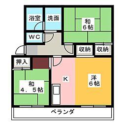 赤坂コーポ北棟[1階]の間取り