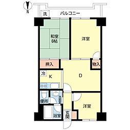 東京都大田区中央2丁目の賃貸マンションの間取り