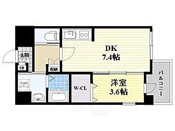 JR東海道・山陽本線 吹田駅 徒歩4分の賃貸マンション 1階1DKの間取り