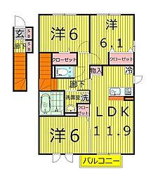 千葉県柏市塚崎2丁目の賃貸アパートの間取り