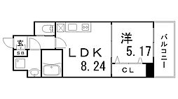 プレジオ神戸WEST[4階]の間取り