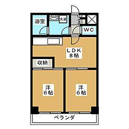 ライオンズマンション堀川[6階]の間取り