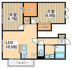JR南武線 西府駅 徒歩15分の賃貸アパート 1階2LDKの間取り