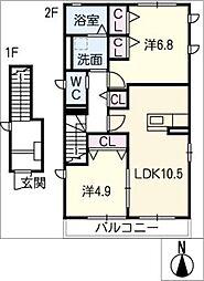 仮)レトア末広 B[2階]の間取り