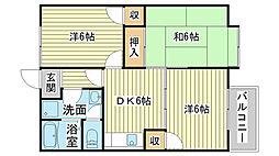 サンコーポ石田[206号室]の間取り