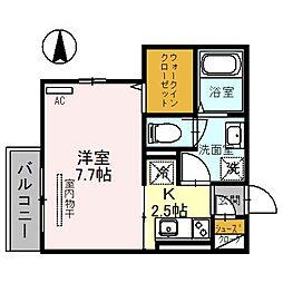 埼玉高速鉄道 川口元郷駅 徒歩9分の賃貸アパート 2階1Kの間取り