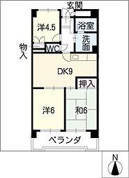 カームネス・ヴァイン安藤[3階]の間取り