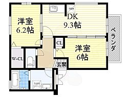 南海高野線 北野田駅 徒歩18分の賃貸アパート 1階2DKの間取り