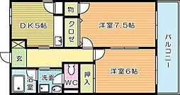大里東マンション[205号室]の間取り