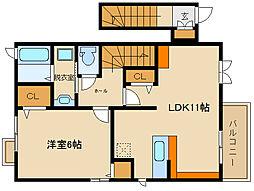 近鉄南大阪線 高鷲駅 徒歩10分の賃貸アパート 2階1LDKの間取り
