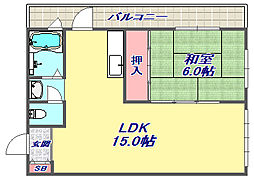 コンフォート六甲道[401号室]の間取り