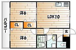 パインコート松籟通り[3階]の間取り