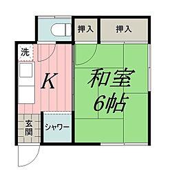 千葉県千葉市中央区登戸2丁目の賃貸アパートの間取り