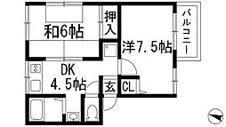 兵庫県宝塚市山本西3丁目の賃貸アパートの間取り