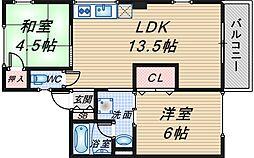 シティハイム東豊中[202号室]の間取り