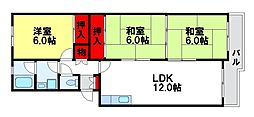シティハイツ萩尾[4階]の間取り