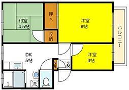 大阪府大阪市住吉区苅田9丁目の賃貸アパートの間取り