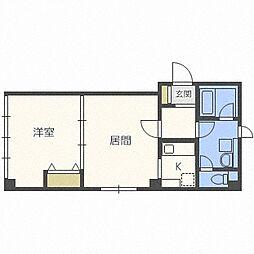 北海道札幌市北区北三十七条西8丁目の賃貸アパートの間取り