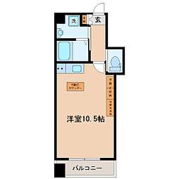 HF西公園レジデンス 4階ワンルームの間取り