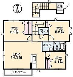 広島県広島市安芸区瀬野西2丁目の賃貸アパートの間取り