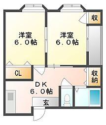 岡山県倉敷市美和2丁目の賃貸アパートの間取り