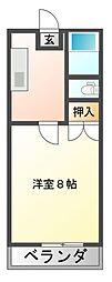 JR赤穂線 西川原駅 徒歩2分の賃貸マンション 2階1Kの間取り