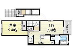 南海高野線 北野田駅 徒歩9分の賃貸アパート 2階1LDKの間取り