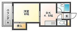 PLEAST吉塚Ⅱ[4階]の間取り