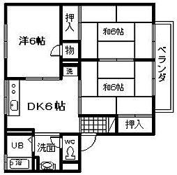 大阪府岸和田市中井町2丁目の賃貸アパートの間取り