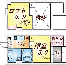 兵庫県神戸市長田区長田町6丁目の賃貸アパートの間取り