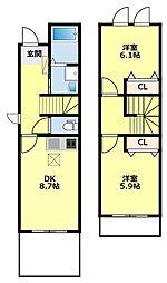 [タウンハウス] 愛知県豊田市東梅坪町9丁目 の賃貸【愛知県 / 豊田市】の間取り