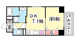 JEUNESSE北野[5B号室]の間取り