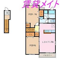 三重県伊勢市村松町の賃貸アパートの間取り