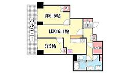 ザ・パークハウス神戸ハーバーランドタワー[1002号室]の間取り