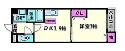 カサデラフェリシダ 2階1DKの間取り